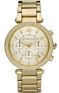 【送料無料】michael kors mk5354 womens parker pave golden stainless steel chronograph watch