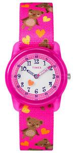 【送料無料】timex girls time machines quartz pink plasticelastic fabric watch tw7c16600