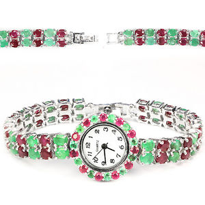 【送料無料】sterling silver 925 genuine natural emerald amp; pink ruby bracelet watch 75 inch