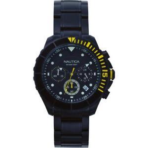 orologio uomo nautica puerto rico napptr006 acciaio chrono nero sub 100mt