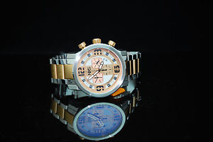 nxs moto swiss chronograph mens multi function w date 2tone rose gold bracelet