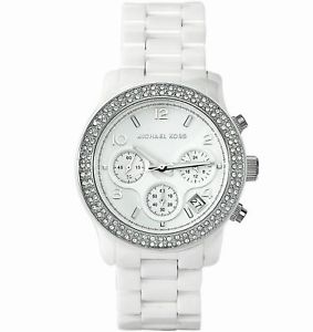 【送料無料】michael kors runway ladies white ceramic bracelet chronograph round watch mk5188