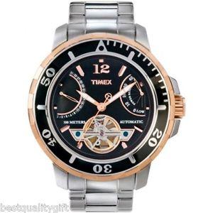 【送料無料】timex silver ssteel,rose gold automatic daydate,tachymeter watcht2m930mr205