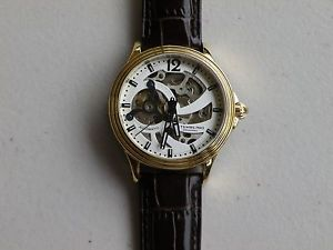 【送料無料】sthrling original mens automatic skeletonized stainless steel leather strap