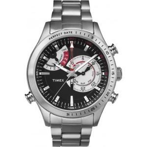 【送料無料】orologio uomo timex intelligent quartz tw2p73000 chrono timer acciaio nero 100mt