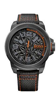 【送料無料】boss orange herrenuhr 1513343 analog textil schwarz