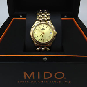 【送料無料】mido mens gold tone stainless steal swiss quarts metal watch m29603121z