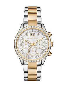 【送料無料】 michael kors mk6188 two tone brinkley chronograph watch 2 years warranty