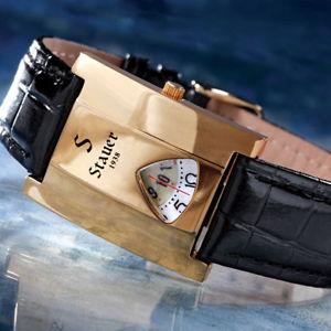 【送料無料】stauer 1938 majestic 31mm x 41mm high polished gold fused stainless steel watch