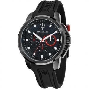 【送料無料】orologio uomo maserati sfida r8851123007 multifunzione silicone nero rosso 50mt