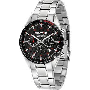 【送料無料】orologio sector 770 r3273616004 uomo watch acciaio 44mm nero cronografo data