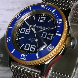 【送料無料】vostok amphibian,amphibia custom russian auto dive watch, , boxed, uk seller