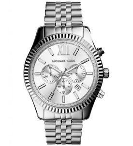 【送料無料】michael kors mens 44mm lexington silvertone watch mk8405 27500