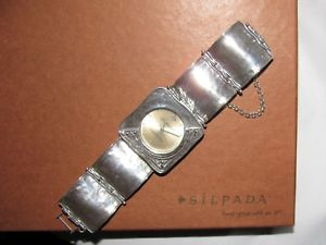 retired signed silpada sterling silver hammered square link watch wbox t137