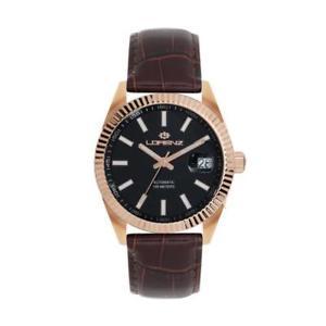 【送料無料】orologio automatico uomo lorenz ginevra 030091jj ros pelle marrone nero
