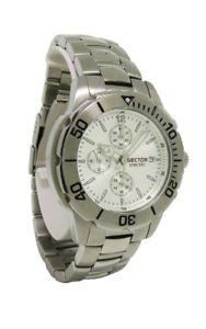 【送料無料】sector 3253980145 mens round silver tone chronograph date analog watch
