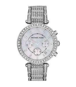 【送料無料】 michael kors mk5572 parker ladies silver pave crystals chrono watch