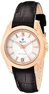 【送料無料】bulova womens precisionist longwood rosetone brown leather watch