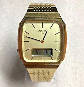 【送料無料】excellent rare vintage ricoh gold tone anadigi alarm quartz watch works great