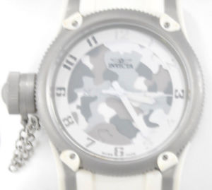 mens invicta 1200 russian diver lefty white polyurethane strap white camo watch