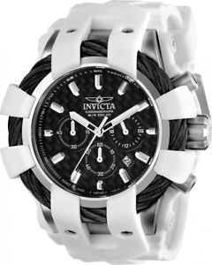 mens invicta 23856 bolt chronograph white rubber strap watch