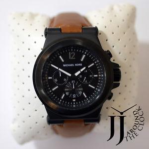 【送料無料】 michael kors original mens dylan brown leather strap watch 46mm mk8512