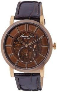 【送料無料】kenneth cole automatic watch 44 mm brown with leather strap kc1933