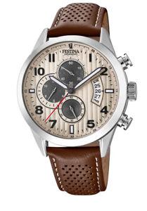 【送料無料】festina f202712 herren uhr chronograph chrono leder braun neu