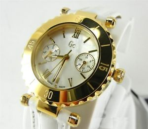 guess collection gc diver chic gold lady watch white strap date mop i25039l1