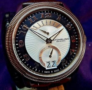 【送料無料】stuhrling 788 03 classique swiss quartz day amp; date brown leather strap watch