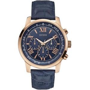 【送料無料】guess mens horizon chronograph blue leather strap watch w0380g5