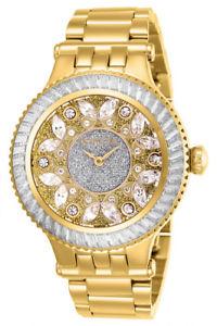 【送料無料】invicta womens subaqua gold plated stainless steel crystal accented watch 26155