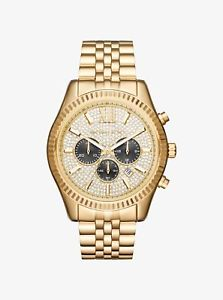 【送料無料】michael kors lexington goldtone chronograph stainless steel watch mk8494