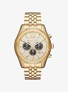 【送料無料】michael kors lexington goldtone chronograph stainless steel watch mk8494