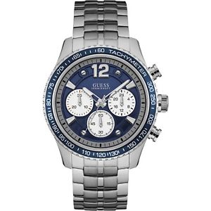 【送料無料】orologio guess fleet w0969g1 watch acciaio uomo cronografo blu 44mm tachimetro