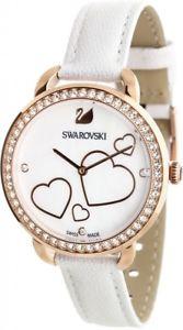 【送料無料】 swarovski 5242514 aila day heart mop white leather strap crystal watch