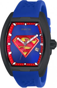 invicta mens dc comics automatic 100m stainless steelblue silicone watch 26944