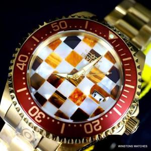 invicta grand diver mosaic mop tigers eye automatic 47mm gold plated watch