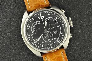 【送料無料】nice mens philip watch chronograph retrograde saeta quartz wristwatch keeps time