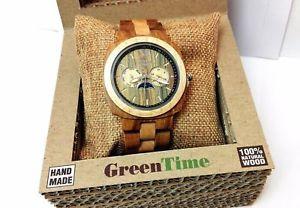 【送料無料】orologio greentime square zw049d luna 100ecofrieldlynaturalwood acerosandalo