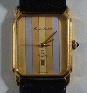vintage maurice lacroix swiss quartz tank wristwatch tricolor stripes w box