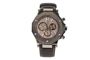 【送料無料】gc mens chronograph watch grey with brown leather strap x72026g1s
