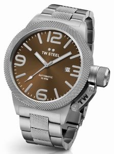 tw steel cb26 mens brown 50mm canteen automatic watch  2 years warranty