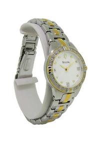 【送料無料】bulova 98r166 womens round analog clear stones stainless steel watch