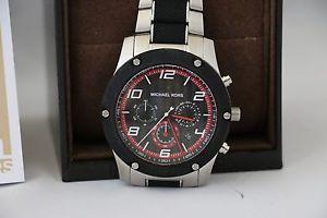 【送料無料】michael kors mens chronograph caine stainless steel and silicone watch mk8474