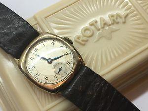 【送料無料】vintage rotary 9k solid gold cushion 1947 mens swiss 15 jewel wrist watch boxed