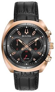 neues angebotbulova 98a156 mens curv chronograph watch rose gold and leather strap nwt