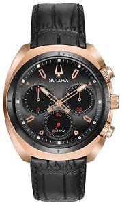 【送料無料】neues angebotbulova 98a156 mens curv chronograph watch rose gold and leather strap nwt