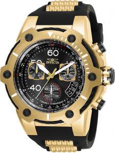 【送料無料】invicta mens bolt quartz chronograph goldtone s steel silicone watch 25874