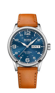 【送料無料】boss herrenuhr 1513331 analog leder braun